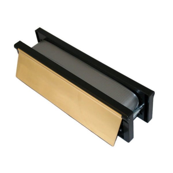 """Intumescent Letterplate 10/250mm Polished Gold / Black"""""""